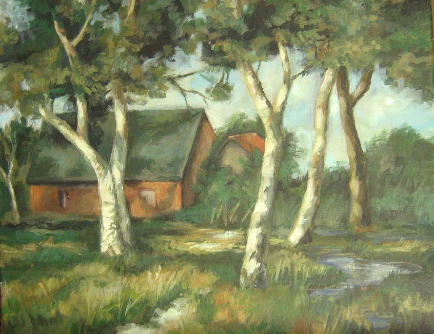 Haus, Worpsweder, Malerei, Landschaften, Birken,
