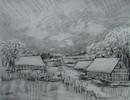 Landschaft, Winter, Zeichnung, Zeichnungen