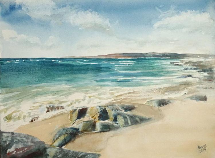 Connemara, Küste, Strand, Meer, Irland, Aquarell