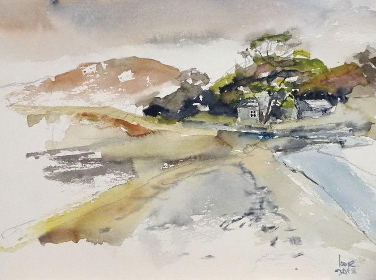 Schottland, Küste, Haus, Aquarell, Ende,