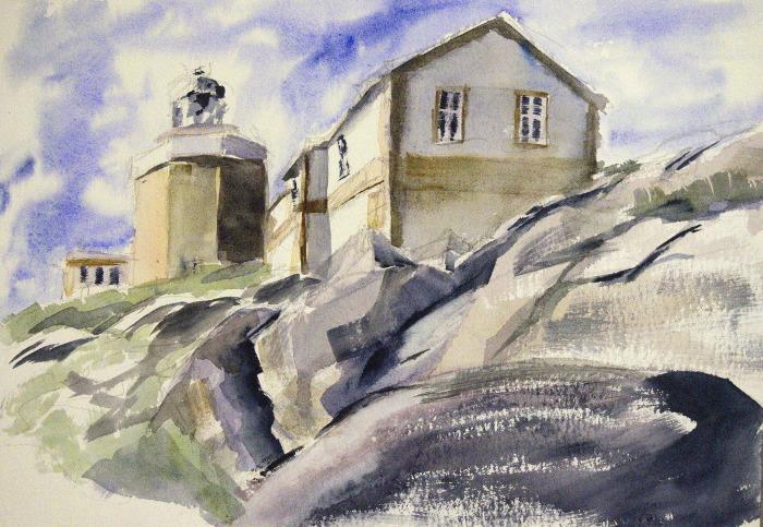 Haus, Leuchtturm, Felsen, Aquarell