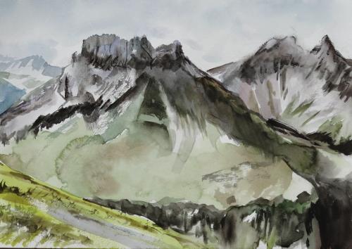 Allgäuer, Kratzer, Mädelegabel, Trettachspitze, Berge, Aquarell