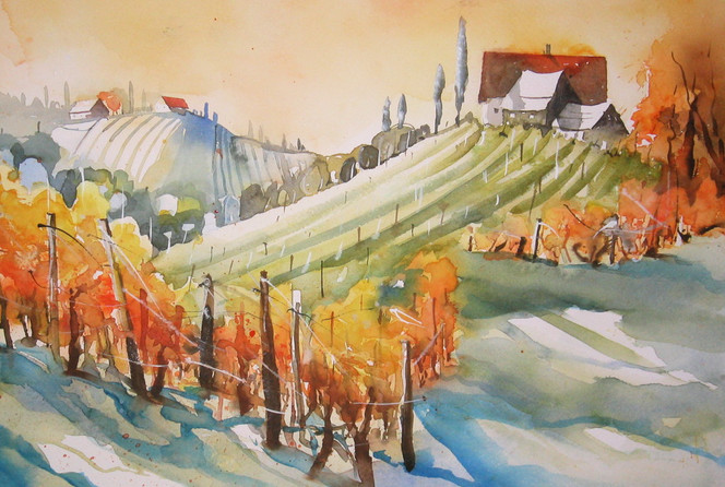Steiermark, Aquarellmalerei, Wein, Aquarell
