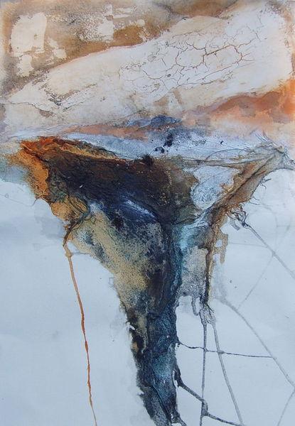 Gaze, Orangenterpene, Pigmente, Marmormehl, Malerei, Abstrakt