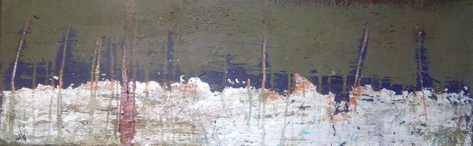 Silber, Kaki, Abstrakt, Blattmetall, Acrylmalerei, See