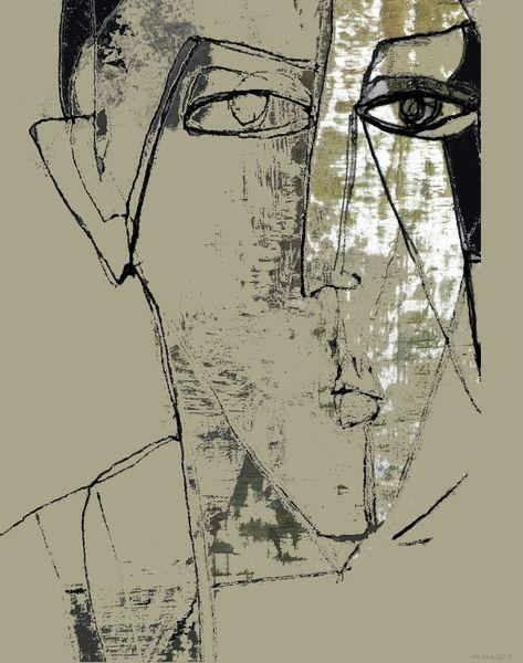 Verlust, Gesicht, Ausdruck, Erinnerung, Augen, Mischtechnik