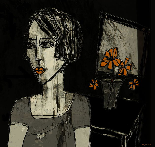 Schwarz weiß, Grau, Orange, Zimmer, Zeichnungen