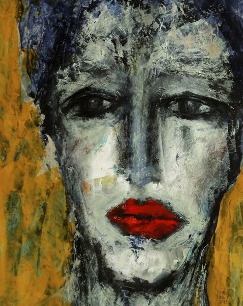 Rote lippen, Roter mohn, Malerei, Mohn