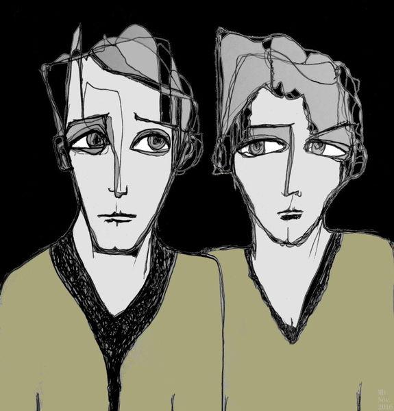 Paar, Blick, Gesicht, Mischtechnik