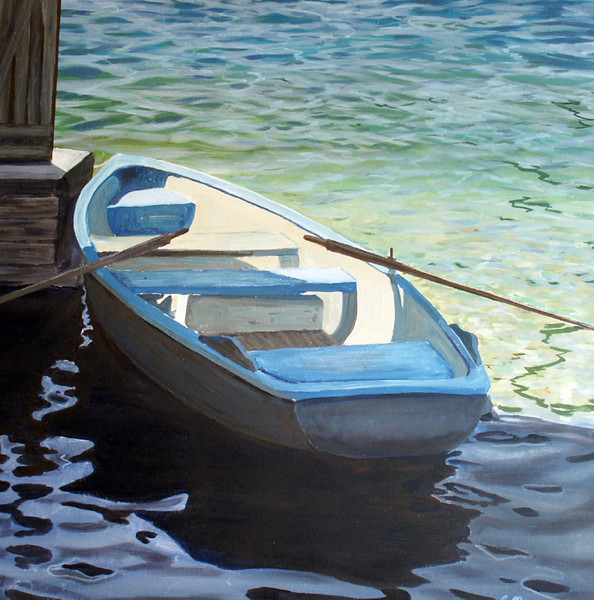 Blau, Ruderboot, Natur, See, Wasser, Malerei
