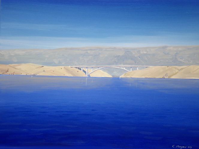 Meer, Brücke, Sonne, Kroatien, Malerei