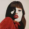 Portrait, Mädchen, Kalte schulterm, Malerei