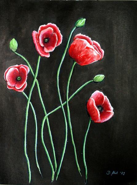 bild blumen tusche aquarellmalerei bl te von doris abel bei kunstnet. Black Bedroom Furniture Sets. Home Design Ideas