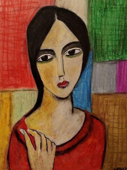 Pastellmalerei, Frau, Rot, Zeichnungen, Suche