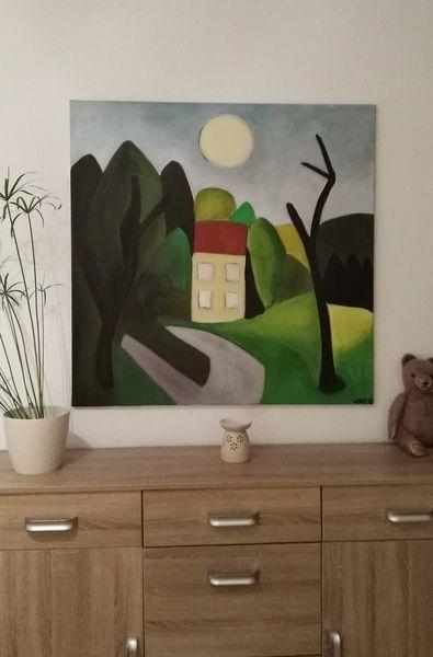 Baum, Haus, Mond, Malerei, Wald