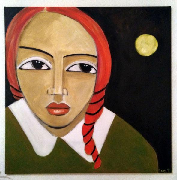 Nacht, Rot, Mond, Malerei, Mondnacht