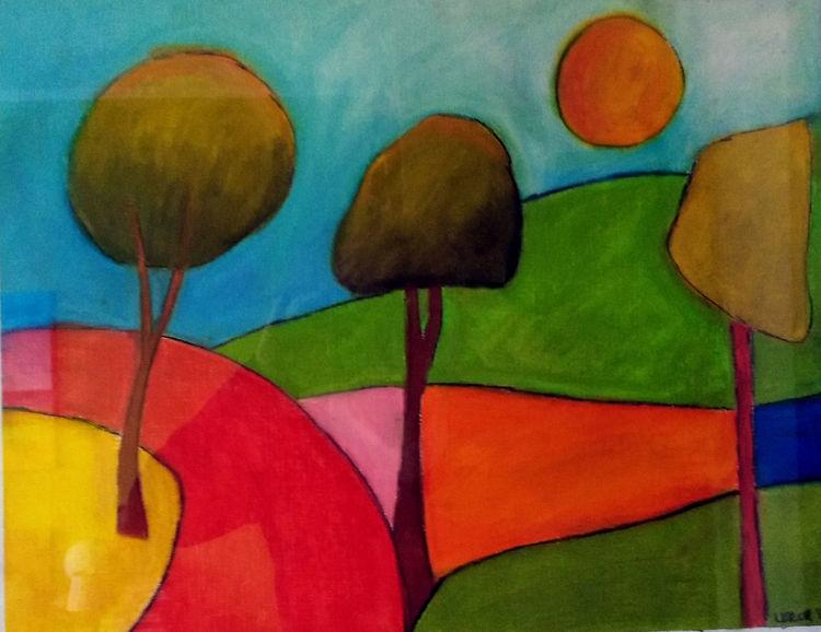 Himmel, Baum, Sonne, Zeichnungen, Weg