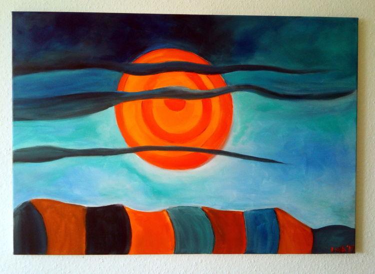 Nebel, Himmel, Sonne, Malerei, Abendrot