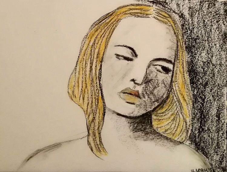 Frau, Pastellmalerei, Kohlezeichnung, Zeichnungen, Müde