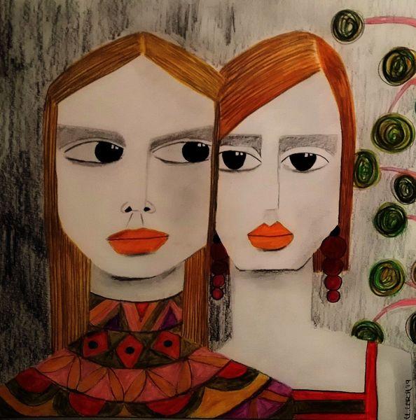 Orange, Freundin, Rot, Zeichnungen, Studie