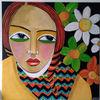 Blumen, Mädchen, Rote haare, Malerei