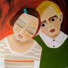 Kinder, Orange, Traurig, Malerei