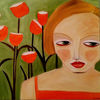 Mohn, Grün, Mädchen, Malerei