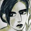Kohlezeichnung, Frau, Rückblick, Zeichnungen