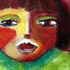 Mädchen, Rot, Grün, Malerei