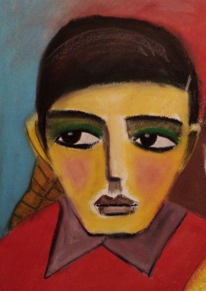 Junge, Rot, Blau, Malerei