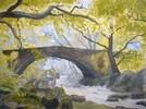 Sommer, Wasser, Brücke, Aquarellmalerei