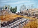 Herbst, Aquarellmalerei, Landschaft, Berge