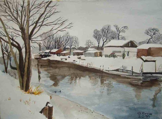 Winter, Kanal, Schnee, Wasser, Aquarell