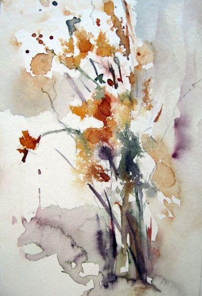 Skizze, Aquarellmalerei, Nass, Blumen, Schicht, Abstrakt