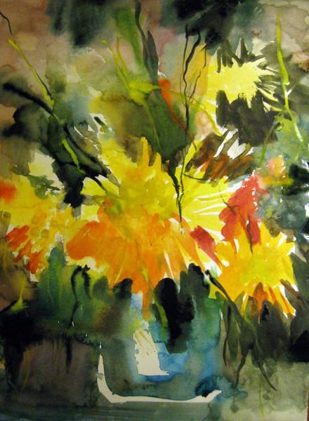 Malerei, Abstrakt, Dahlien