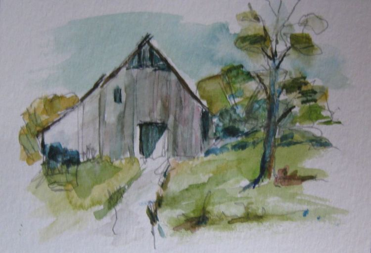 Skizze, Aquarellmalerei, Landschaft, Aquarell, Ebene, Haus