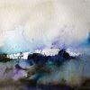 Schicht, Nass, Landschaft, Aquarellmalerei
