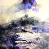 Aquarellmalerei, Landschaft, Nass, Abstrakt