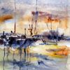 Landschaft, Aquarellmalerei, Nass, Aquarell