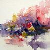 Landschaft, Abstrakt, Aquarellmalerei, Skizze