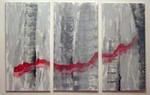 Acrylmalerei, Triptychon, Lava, Abstrakt