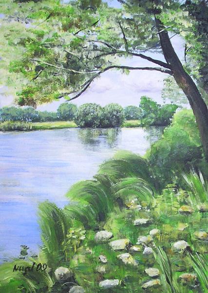 Landachaft, Wasser, Havel, Acrylmalerei, Fluss, Malerei