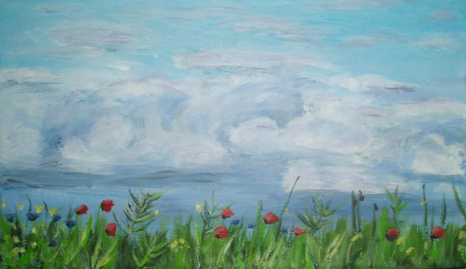 Acrylmalerei, Blumen, Landschaft, Malerei