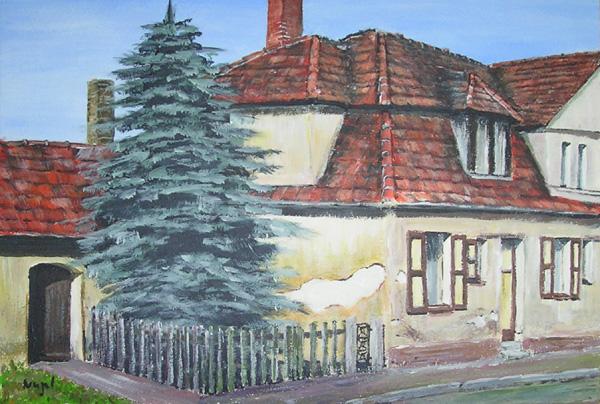 Acrylmalerei, Landschaft, Bauernhaus, Malerei, Haus