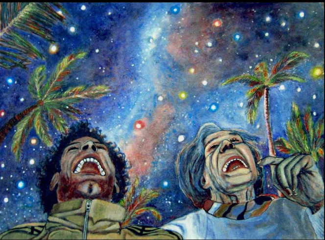 Sonne, Stern, Mond, Malerei, Abstrakt