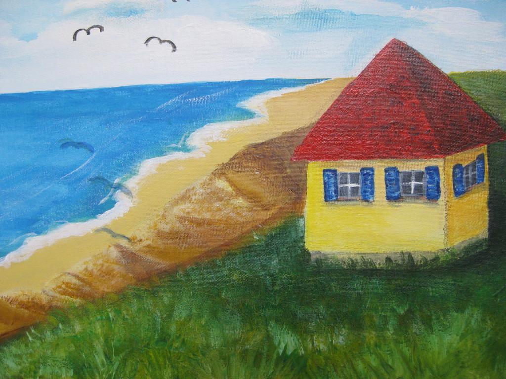 Haus, Meer, Strand, Malerei, Landschaften