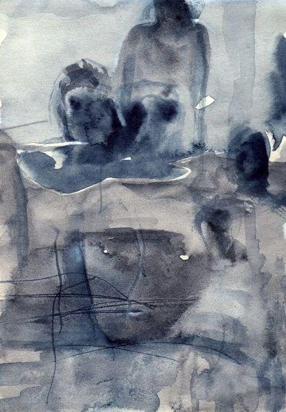 Nacht, Surreal, Abstrakt, Kalt, Aquarell