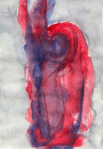 Surreal, Abstrakt, Figural, Rot, Aquarell