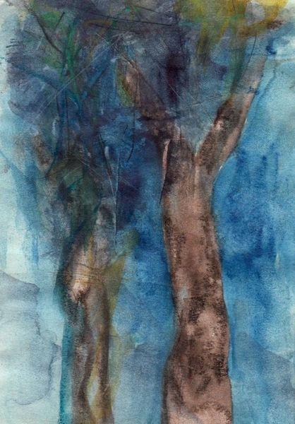 Blau, Surreal, Abstrakt, Figural, Aquarell