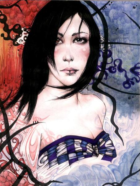 Piercing, Frau, Portrait, Bunt, Zeichnungen